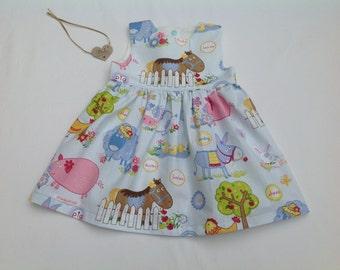 Girls dress,  baby girl dress, toddler dress, farm animal print,  6/12 months,