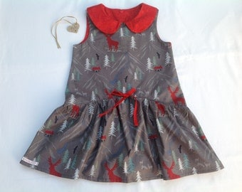 Girls dress,  low waist,  Peter Pan collar, Christmas dress, stag, age 4 years,girls clothing,  handmade, one only