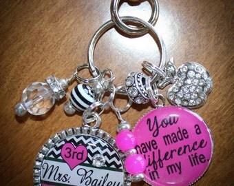TEACHER GIFT, Personalized Teacher Keychain, Personalized Teacher Necklace, Personalized Teacher Gift, Personalized Gift, Caregiver Gift