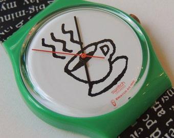90's Swatch Watch Cappuccino GG121 Designed by Jennifer Morla, vintage watch, coffee swatch