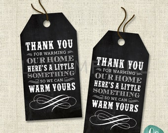 Housewarming Party Favor Tag / Housewarming Party Invitation / Printable Thank You Tags / Chalkboard Housewarming Favour Tags