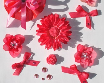 Inspiration Embellishment Kit Silk Flowers Satin Bows Papercrafts Hair Bows Hats Scrapbooking Needlecrafts Home Decor Rhinestones