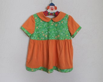 HANDMADE Vintage Style Girls Orange Green Toddler Collar Dress Cotton Flower Print Jersey Cotton Dress Girls Summer Baby Girl's Dress 9-18mo
