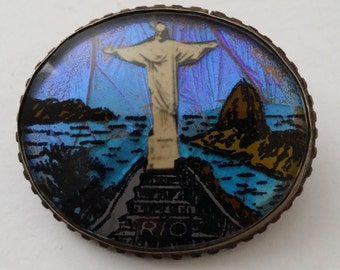 "Exquisite Butterfly Wing Brooch RIO ""Christ the Redeemer"""