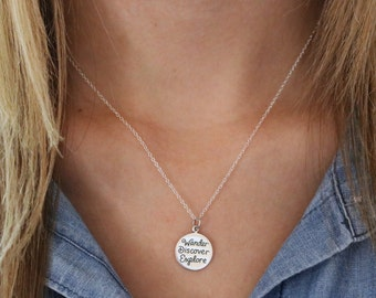 Wanderlust Necklace - Sterling Silver Wander Necklace - Not All Who Wander Necklace - Graduation Gift - Gift for Traveler - Traveler Jewelry