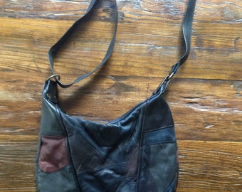 Black leather patchwork handbag 90s