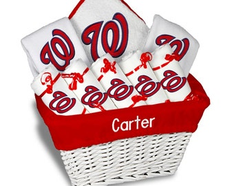 Personalized Washington Nationals Baby Gift Basket - 2 Bibs, 5 Burp Cloths, Towel Set - Large