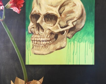 Large Original Detailed Human Skull on Green drip background - Acrylic on Canvas, 24 x 30""