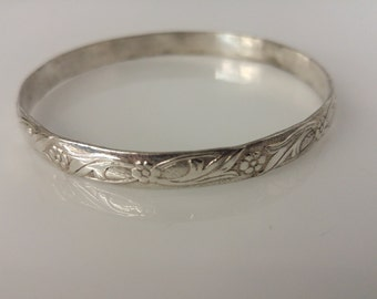 Sterling Etched Bangle