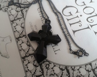 Black Cross pendant necklace. Lolita. Elegant. Gothic. Brand New. Handmade.