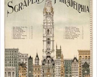 SKYSCRAPERS OF PHILADELPHIA Landmarks Poster 1898 24x36 Collectors Historic