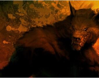 terrifying werewolf with sharp teeth & evil eyes POSTER 24X36 MENACING TERROR