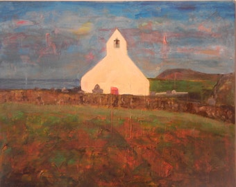 Mwnt Church Ceredigion Original Acrylic Painting