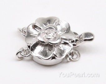 Sterling silver clasp, large flower clasp, box clasp, double strand elastic clasp, silver findings for jewelry making, 12mm, CS1020