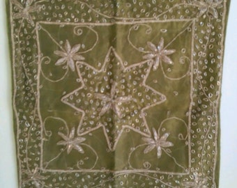 Indian Art Olive Green Satin Pillow Slip Cover