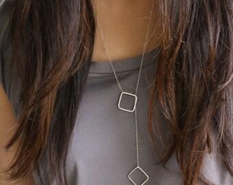 Silver square lariat, silver square necklace, long silver necklace, sterling silver square necklace,  geometric bridesmaid jewelry gift