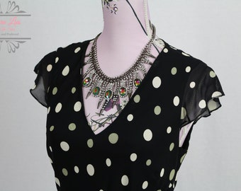 Vintage Bias Cut Black and White Spotted Dress Size S/M