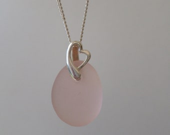 Pale Pink Sterling Silver Sea Glass Necklace