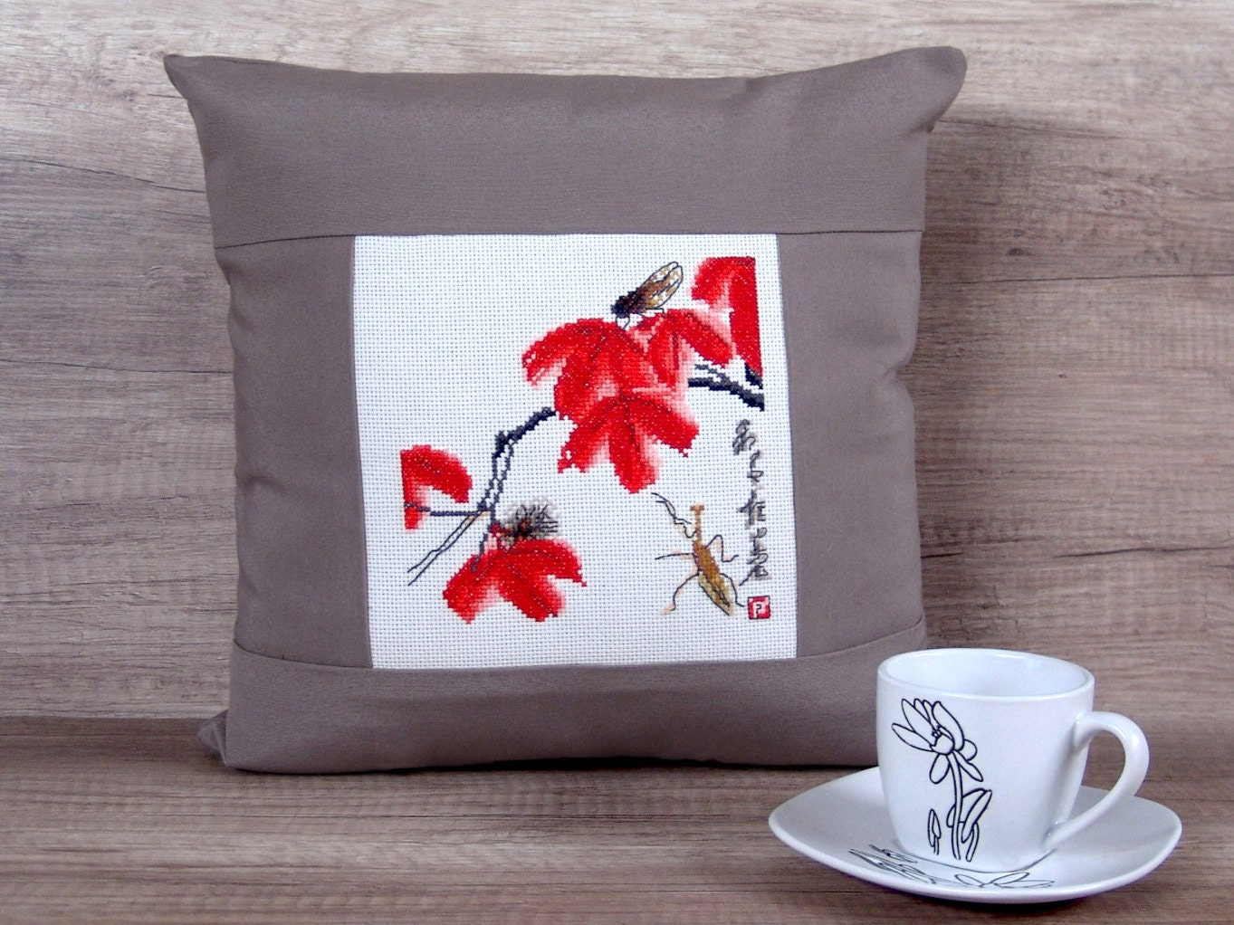 Asian style throw pillow covers 14x14 oriental inspired