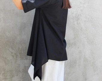 Black linen shirt, Linen tunic, Linen top, Linen shirt, Linen kimono tunic, Loose linen top, Oversize linen top
