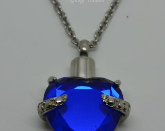 Keepsake Urn Pendant - Cremation Charm Necklace - Blue Heart - Holds Ashes Fur Sand Hair - Engraving/Personalised/Bespoke Unique Funeral UK