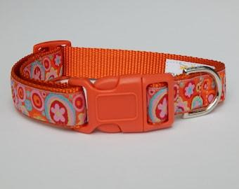 Orange Paperweight Dog Collar, Orange Dog Collar, Multicolor Dog Collar, Adjustable Dog Collar