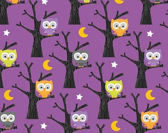 Riley Blake Ghouls Owl Purple Glow in the Dark Fabric - GC5301 - from the Ghouls and Goodies Collection