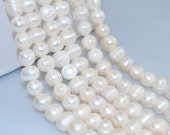 2.0mm Large Hole Fresh Water Pearl Potato Shape Loose Beads Approx.14'' Long. Size 7-8mm/9-10mm/11-12mm .R-S-PEA-0302