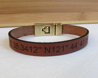 GPS Leather Cuff Bracelet, Engraved Friendship Bracelet, Coordinates Bracelet, Hidden Message Bracelet, Boho Jewelry,Mens or Womens Bracelet