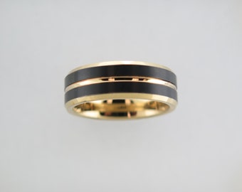 Black and Yellow Gold* Tungsten Carbide Unisex Band, Yellow Interior, Mens Ring, 8mm Tungsten Ring, Black Ring, Wedding Band, Womens Ring