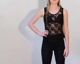 Vintage 90's floral sheer black lace singlet//tank top