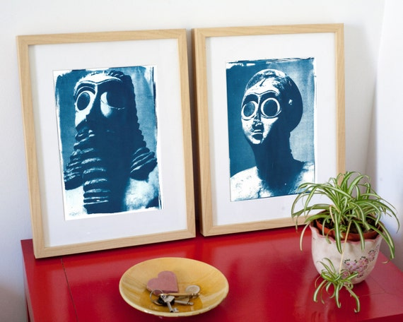Pair of Sumerian Hollistic Sculptures, Cyanotype Prints on Watercolor Paper, A4 size