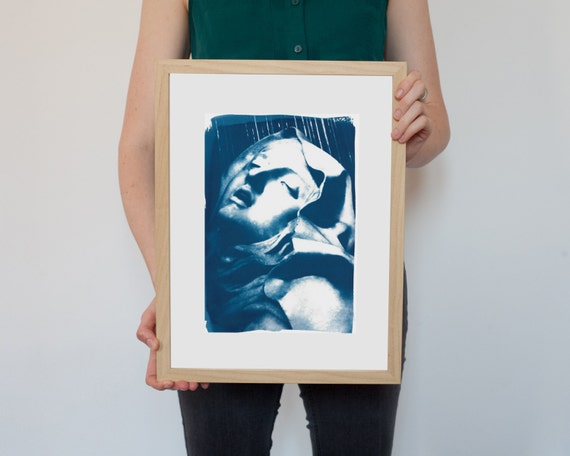 Bernini Sculpture Cyanotype, Ecstasy of St. Teresa Sculpture on Watercolor Paper, A4 size (Limited Edition)