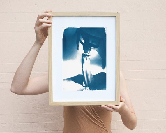 Fashion Photograph of Girl with Veil from Mid-Century, Cyanotype Print on Watercolor Paper, A4 size