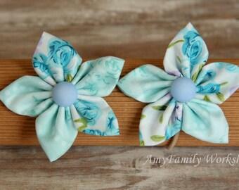 Blue Flower Elastic Ponytail Holder Elastic Hair Tie Hair Accessories