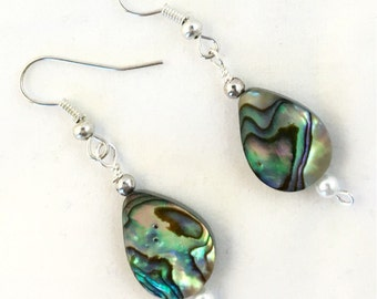 Abalone Earrings, Shell Jewelry, Gift for Her, Paua Shell Earrings, Beach Jewelry, Silver Earrings, Sterling Silver or Plate available