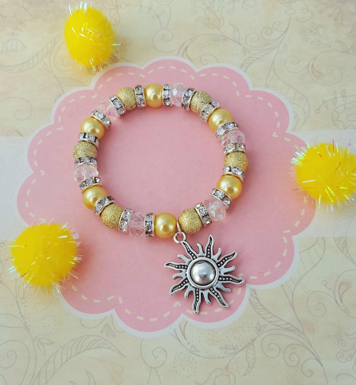 Childrens Charm Bracelet: Sunshine Charm Bracelet Kids Bracelet Crystal Jewellery Sun