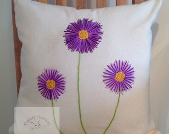 Hand Embroidered Daisy Cushion/Pillow - 40cm x 40cm - Natural