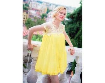 Boho Dress, Sexy Dress, Short Bridesmaid Dress, Yellow Dress, Lace Dress, Summer Dress, Flare Dress, Boho Tunic Dress, Sheer Dress