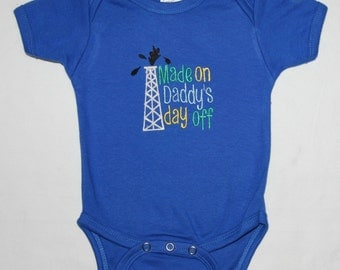 Made on Daddy's day off embroidered bodysuit