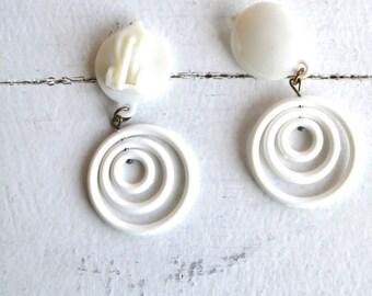 Small Clip-on hoops Clip on Hoops Hoop Earrings Dangle Clip-on Hoops White Vintage 80s deadstock