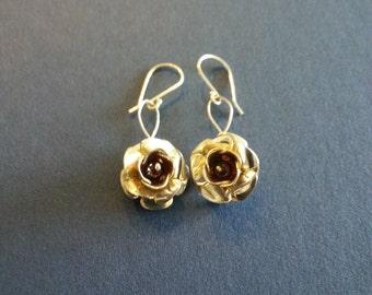 Sterling Silver Flower Earrings with Garnet Beads