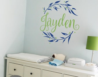 Nursery wall name decal Custom monogram wall decals Personalized vinyl wall monogram Nursery wall initial sticker Nursery decal -AI003