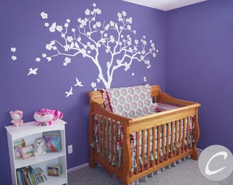 White tree wall decal for nursery Large tree with birds sticker Removable Art Kids Large Vinyl Room Baby Mural Living Birch Decals -AM121