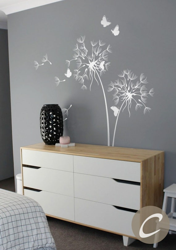 Dandelion Wall Decal With Butterflies Large by ...