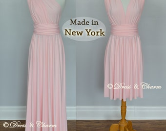 Soft Pink Bridesmaid dress, infinity dress, convertible dress, maternity gown, party dress, prom dress, multiway dress. evening dress