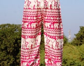Unisex Summer PJs , Front seam baggy pants Hippie festival wear in soft combed cotton , yoga pants ,018 free shipping