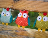 Cute felted owls Nursery decor Owl ornament Felt animals Gift for her green owls decorations ornaments for home owl baby mobile