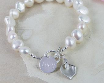 Personalised Freshwater Pearl Lily Bracelet