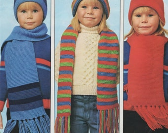 Childrens Hat and Scarf PDF Knitting Pattern : Boys or Girls . Winter Warmers Hats & Scarves Pattern . Instant Digital Download